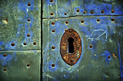 Old Door Framed Prints - Keyhole on a blue and green door Framed Print by RicardMN Photography