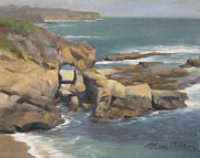 Rock Formation Paintings - Keyhole Rock at the Montage Laguna Beach by Anna Bain