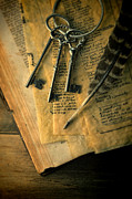 Parchment Framed Prints - Keys and Quill on Old Papers Framed Print by Jill Battaglia