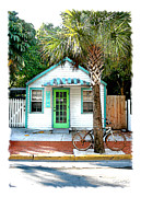 Caribe Posters - Keys House and bike Poster by Linda Olsen