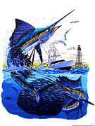 Striped Marlin Prints - Keys sail Print by Carey Chen
