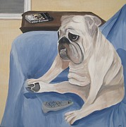 English Bulldog Paintings - Keyser by Tracie Davis