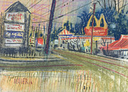 Businesses Drawings Prints - KFC and McDonalds Print by Donald Maier