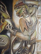 Make-up Style. Medieval Architecture Painting Prints - Khajuraho Tantrik Dancer applying make-up Print by Prasenjit Dhar