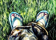 Flip-flops Paintings - Khaki Pants and Flip Flops by Shana Rowe