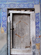 Carved Tile Posters - Khiva Door No.3 Poster by Mamoun Sakkal