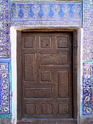 Carved Tile Posters - Khiva Door No.6 Poster by Mamoun Sakkal