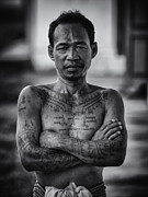 Front View Framed Prints - Khmer Tattoo Man Framed Print by David Longstreath