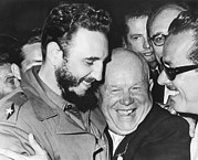 Khrushchev And Castro Print by Underwood Archives