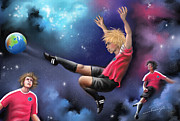 Soccer Painting Prints - Kick Off Print by Susi Galloway