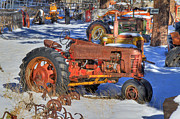 Red Tractors Framed Prints - Kicked to the Curb Framed Print by Donna Kennedy