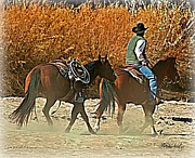 Cowboy Digital Art Prints - Kickin up the Rio Print by Barbara Chichester