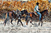 Quarter Horses Framed Prints - Kickin Up The Rio II Framed Print by Barbara Chichester