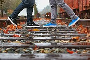 Nike Metal Prints - Kicks on Tracks II Metal Print by Christi Warn