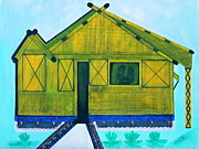 Bamboo House Drawings Prints - Kiddie House Print by Lorna Maza