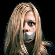 Censorship Posters - Kidnapped woman hostage with tape over her mouth Poster by Jan Mika