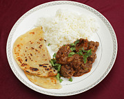 Table Cloth Prints - Kidney masala meal from above Print by Paul Cowan