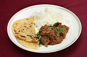 Table Cloth Prints - Kidney masala meal side view Print by Paul Cowan