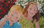 Portraiture Pastels Framed Prints - Kids 2 Framed Print by Dani Altieri Marinucci