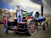 Greyhound Photos - Kids and 1 2 Scale Case Steam Tractor by F Leblanc
