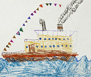 Original Art Pastels Prints - Kids Drawing of a Passenger Ship in The Sea Print by Kiril Stanchev
