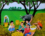 Asian Artist Posters - Kids Eating Mangoes Poster by Cyril Maza