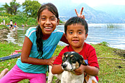 Mayan Dog Framed Prints - Kids from San Pedro Laguna Framed Print by OpposableThumbnails EyeBrowses