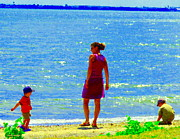 Summer Along The Canal Paintings - Kids Playing On The Seashore Mom And Little Boys Pointe Claire Montreal Waterscene Carole Spandau by Carole Spandau