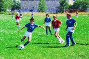 Sports Art Digital Art Originals - Kids Soccer Game by Gary De Capua