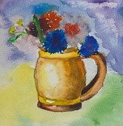 Flower Child Paintings - Kids watercolor drawing of a colorful bouquet by Kiril Stanchev