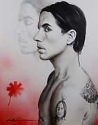 Chili Peppers Framed Prints - Kiedis Apache Soul Framed Print by Christian Chapman Art