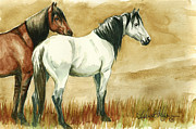 Mustang A Day Challenge Paintings - Kiger mares by Linda L Martin