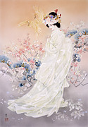 Peach Dress Framed Prints - Kihaku Framed Print by Haruyo Morita
