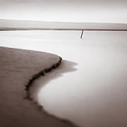 Mono Prints - Kijkduin Beach Print by David Bowman