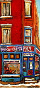 Restaurant Signs Paintings - Kik Cola Pepsi  Cola Corner Depanneur Epicerie Marche Fruits Verdun Winter Montreal City  Scene by Carole Spandau