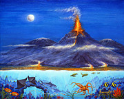 Hawaii Sea Turtle Paintings - Kilauea Volcano Hawaii by Jerome Stumphauzer