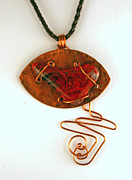 Reds Jewelry Prints - Kilnformed Glass and Copper FM072810 Print by P Russell