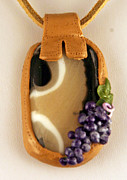 Grapes Jewelry - Kilnformed Glass and Polymer Clay Pendant SS01111101 by P Russell