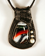 Fused Glass Jewelry - Kilnformed Glass Polymer Clay and Pearl Pendant by P Russell