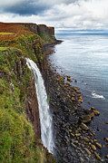 Cliffs Prints - Kilt Rock waterfall Print by Jane Rix