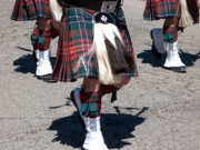 Bagpipers Prints - Kilts on Parade Print by Ann Horn