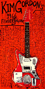 Guitars Paintings - Kim Gordon Jaguar by Karl Haglund