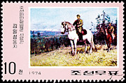 Wwii Propaganda Photos - Kim II Song Riding Horse by Jim Pruitt