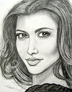 Kim Drawings Framed Prints - Kim Kardashian Framed Print by Patrice Torrillo