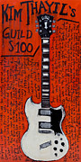 Guitars Paintings - Kim Thayil Guild S-100 by Karl Haglund