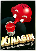 American Food Mixed Media Framed Prints - Kinagin Vermouth Advertising Poster     Framed Print by Gary Perron