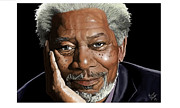 Kind Face Morgan Freeman Print by Brien Miller