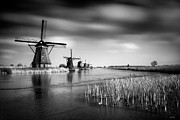 Monochrome Posters - Kinderdijk Poster by David Bowman
