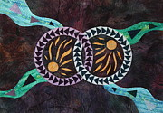 Art Quilts Tapestries - Textiles Tapestries - Textiles Posters - Kindred Spirits Poster by Patty Caldwell