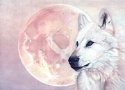 Wolf Pastels Framed Prints - Kindred Spirits Wolf and Moon Framed Print by Michaeline McDonald